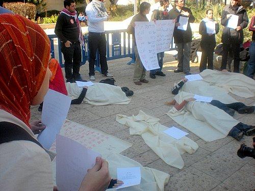 """Stand di protesta contro l'operazione """"piombo fuso"""""""